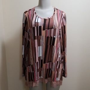 LOGO Lori Goldstein brown pink block print top-L